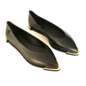 MELISSA Gold Trim Pointed Toe PVC Flats